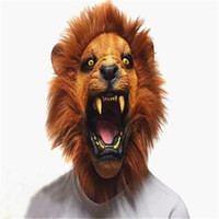 Venta al por mayor de Halloween Props Látex Adultos Angry Lion Head Máscaras Animal Full Celebrity Party Fantasía Clásica Cosplay Latex Lion Máscaras Envío Gratis
