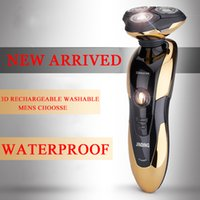 Wholesale Electronic Shaving Blades - Free shipping Waterproof Electronic Rechargeable Shaver Triple Blade 3 Segment Electric Shaving Razors Men Face Care 3D Floating