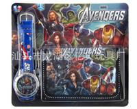 Wholesale Children Watches Wallet - 10pcs New The Avengers Batman Quartz Watches and Wallet Sets Children Gifts