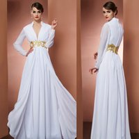 Wholesale Dress Eveni - Mothers Long Dresses For Wedding White Plunging Neckline Beads Long Sleeves Eveni ng Formal Dresses W5967