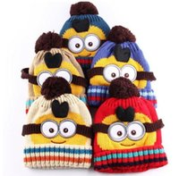 Wholesale Crocheted Girl Minion Hat - Kids Despicable Me Children Hat Minions Knitted Beanies Hot Crochet Winter Warm Hats Novelty Beige Accessories Red Boys and Girls Free Shipp