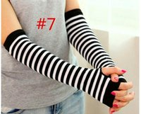 Wholesale Fingerless Gloves Cotton - 2016 winter Women Cotton gauntlet Woman Striped Long Gloves Woman Knitted Half Finger Gloves Woman Warm Cuff Arm Sleeves 9colors choose free