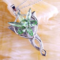 Vintage Lord of Arwen Evenstar Green Amethyst 925 Free Silver Chain Necklace Pendant Новые ювелирные изделия для женщин Подарок