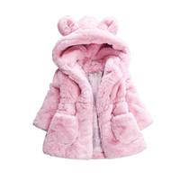 Wholesale kid girls clothing online - Baby Girls Winter Coat Rabbit Ear Hooded Children Jacket for Girls Outerwear Faux Fur Fleece Kids Warm Jacket Girls Clothing