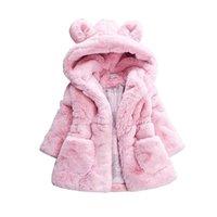 ingrosso pelo di pelliccia di coniglio-Neonate Cappotto invernale Rabbit Ear Hooded Bambini Giacca per ragazze Capispalla Faux Fur Fleece Kids Warm Jacket Girls Clothing