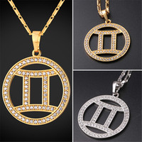 Wholesale Gemini Pendants - U7 New Zodiac Charms GEMINI Pendant Necklace Simple Women Men Jewelry Gift Rhinestone Gold Platinum Plated Necklace Perfect Gifts P2505