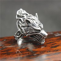Mens Boys 316L Stainless Steel PUNK Gothic Flaming Wolf Head Mais novo anel Factory Price