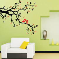 Wholesale Tree Branch Wall Decals Removable - Tree Branch Love Birds Cherry Blossom Wall Decor Decals Removable Decorative Wall Art Mural Poster Stickers for Living Room TV Background
