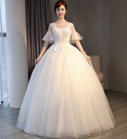 Wholesale Korean Girl New Pictures - Wedding dress 2017 new style winter, one word shoulder show thin, Korean and earth princess married big size bride wedding dress girl