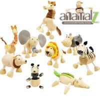 zoo tiere spielzeug großhandel-ANAMALZ Spielzeug 24 Bewegliche Holzspielzeug Zoo Tiere Puppen Ahorn Holz Textilien Spielzeug Für Kinder Freies verschiffen