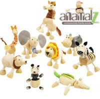 Wholesale Wholesale Wooden Dolls - ANAMALZ Toys 24 Moveable Wooden Toys Zoo Animals Dolls Maple Wood Textiles Toys For Kids Free shipping