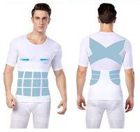 Wholesale Back Corrector Men - Fashion Back Posture Corrector Men Body Shaper sexy Slimming Underwear Chest Abdomen Tummy Fat Burn Shirt Compression Waist Corset For Male