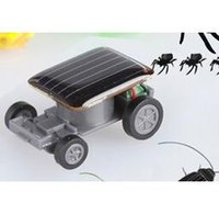 Wholesale Race Car Fun - 100pcs lot Mini Smallest Solar Powered Robet Racing Car Moving Drive Car Fun Gadget Toy For Kids