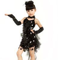 Wholesale Latin Pants - 5pcs set Sweet child Sequin Backless Latin Dress ( Gloves Corsage Neckwear Pants )Strap Bandage Dress Performance Wear tls035