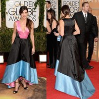 Wholesale Sandra Bullock Dresses - 2016 Newest 71st Golden Globe Red Carpet Dresses Reese Sandra Bullock Celebrity Dress Deep V Neck A line Hi lo Pageant Dresses Prom Gowns