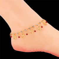 Wholesale Gold Heart Anklets - Heart Charm Bracelets for Women 18K Gold Plated Multicolor Rhinestone SEXY Summer Dress Jewelry Ankle Chain Anklet Bracelet