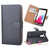 Para LG G2 Mini G3 Mini Real Couro Genuine Wallet Cases com crédito ID Card Slots Titular Money Pocket Flip Stand Luxury Capa