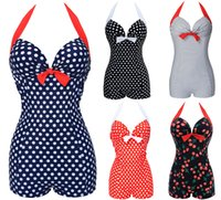 Wholesale Swimsuits Bows - NWT Hot Sexy Women Vintage Style One piece Dot Print Bow knot Sweetheart Swimsuit Push Up Strappy Plus Size M~3XL
