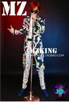 Wholesale Ivory Colored Men Suits - Male singer fashionable nightclub in the Korean version runway looks colored gems long suit suit costumes. S - 6 xl