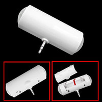 Wholesale Smallest Stereo Speakers - Mini Portable Stereo Speaker small stereo fit for iPod iPhone MP3 MP4 White ABS 3.5mm connector