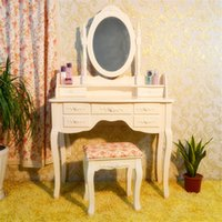 Wholesale Mirrored Vanity Tables - White Vanity Wood Desk Makeup Dressing Table Sets With Mirror Stool And 7 Drawers 70*40*90cm Free Shipping