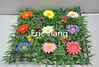 ingrosso tappeti erbosi artificiali-Confezione da 50 vendita intera economici tappetino erba plastica artificiale con fiori margherita corridore stuoia bosso