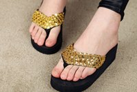 Wholesale girl wedges - Sequins Sandals Beach slippers flip flops 2015 fashion women girls wedge shoes Slipper