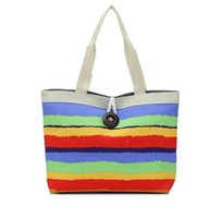 Wholesale Rainbow Cake Colors - Women's Handbag Casual Women Shoulder Bag Printing Bag Canvas Beach Bag Stripped Colorful Bag Rainbow Colors Reusable shopping bag DHL Free