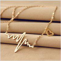 Wholesale Necklaces Heartbeat - ECG Charm Necklace Electrocardiogram Love Heart Pendants Heartbeat Heart Rhythm 18K gold plate EKG Jewelry Necklaces for Women