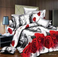 Wholesale Cotton Comforter Quilt - New 100% cotton bedding quilt doona duvet covers Super soft queen king super-king duvet cover flat sheet comforter set 4pcs Marilyn Monroe