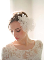 Wholesale Yarn Hair Band - 2016 Handmade Beautiful Bridal Hair Accessories Ruffles Tulle Hair Band Headpieces Wedding Flower Vintage Hair Accessory for BrideCPA460