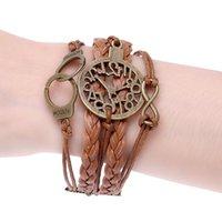 Wholesale Camera Charms For Bracelets - black brown charm men bracelet braided bicycle camera bracelets & bangles leather bracelet for women pulseira bijoux