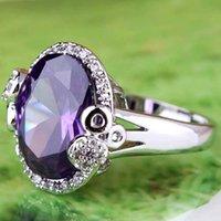 piedras preciosas de amatista al por mayor-2020 anillos de la joyería del partido nupcial A0070 Mujeres 18x12mm Tamaño del Rhinestone de corte princesa púrpura amatista piedras preciosas Topaz 18K plateó el anillo de platino 10