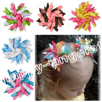 Wholesale Korker Ribbons Wholesale - 20pcs Children's baby curlers ribbon hair bows flowers clips corker hair barrettes korker ribbon hair ties bobbles hair accessories PD007