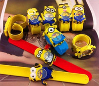 Le plus récent 3D Eye Despicable Me Snap Watch Bracelet Minion Watch Precious Milk Dad Children Slap Snap On Silicone Quartz Wrist Watch Band
