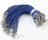 ingrosso braccialetto di perline di treccia-100pcs / lot Braccialetto di fascino intrecciato cuoio reale blu per il branello catenaccio catene gioielli fai da te 0.3x20cm
