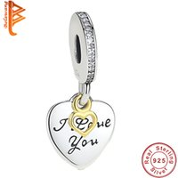Wholesale I Love Forever - BELAWANG European 925 Sterling Silver Charm Beads Engrave I Love You Forever Pendant Charms Fit Pandora Bracelet&Bangle DIY Original Jewelry