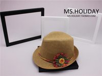 Wholesale Topi For Women - Wholesale-Beautiful Crochet flower Decorate trilby hat for Woman beach resort Sun hats Topi camel Summer style straw cap chapeu gorra bone
