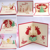 Wholesale Personalized Gift Paper - 9 Design Christmas Card 3D Pop Up Greeting Card Christmas Bell Party Invitations Paper Card Personalized Keepsakes Postcards Gift WX9-129