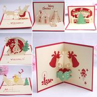 einladungskarten designs großhandel-9 Design Weihnachtskarte 3D Pop Up Grußkarte Weihnachtsglocke Partyeinladungen Papierkarte Personalisierte Andenken Postkarten Geschenk WX9-129
