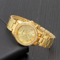 genf armbanduhren neue ankunft großhandel-Neue Ankunfts-Genf-Uhr-Edelstahl-Frauen kleiden analoge Armbanduhren Männer Kristalldiamant-beiläufige Uhr Unisexquarzuhren
