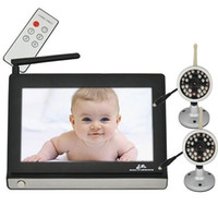 Wholesale Lcd Wireless Baby Monitor - Video Baby Monitor with Two Camera and 7 Inch TFT LCD 2.4GHz Wireless Baby Monitor with Night Vision +2pcs Wireless Outdoor Camera
