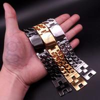 braceletes mexicanos da identificação do ouro venda por atacado-Gótico Pesado Moda Pulseira de Prata dos homens \ ouro \ tom Preto Cadeia Curb Aço Inoxidável