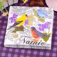 Wholesale Bird Paper Napkins - Wedding Decorative Paper Napkin Placemats Color Birds Flower 100% Virgin Wood Handkerchief Serviettes for Sale SD916