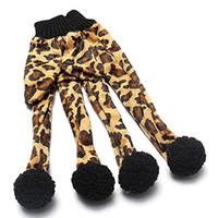 Wholesale Leopard Mittens - Pet Cat Plush Leopard Print Glove Kitten Teaser Toy Magic Glove Teasers Kittens Mitt Mitten with Pom Pom Balls 40pcs 00940