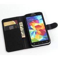 carteras galaxy s5 al por mayor-Para Samsung Galaxy s5 i9600 Litchi billetera de cuero ID titular de la tarjeta de crédito del tirón de la cubierta del caso 9 colores elegir