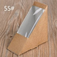 Wholesale Eco Friendly Paper Packaging - Creative Kraft Paper Sandwich Box Eco Friendly Disposable Cake Dessert Box Foldable Takeaway Food Package 100pcs lot SK731