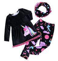 ingrosso unicorno rosso-2017 Autunno Inverno unicorno sciarpa set bambini vestito di cotone bambino foresta animale ragazze 3 pezzi rosso maniche lunghe pantaloni boutique vestiti per bambini