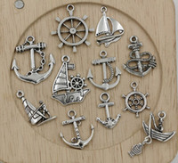 Wholesale Mixed Tibetan Silver - Hot sell ! 110pcs Tibetan Silver Mixed Sailing, anchor, rudder Charm Pendant Jewelry DIY 11 - style (350)