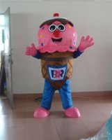 Wholesale Ice Cream Mascot Costumes - Adult Size Ice Cream Mascot Costume Cartoon Pink Yellow Face Ice Cream Cup Model Costume Christmas Party Dress